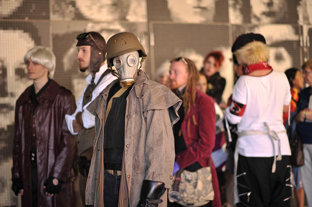 . DENVER, CO. - MAY 31: Talon front with mask and people are in the line of Opening day of Denver Comic Con at Colorado Convention Center. Denver, Colorado. May 31, 2013. (Photo By Hyoung Chang/The Denver Post)