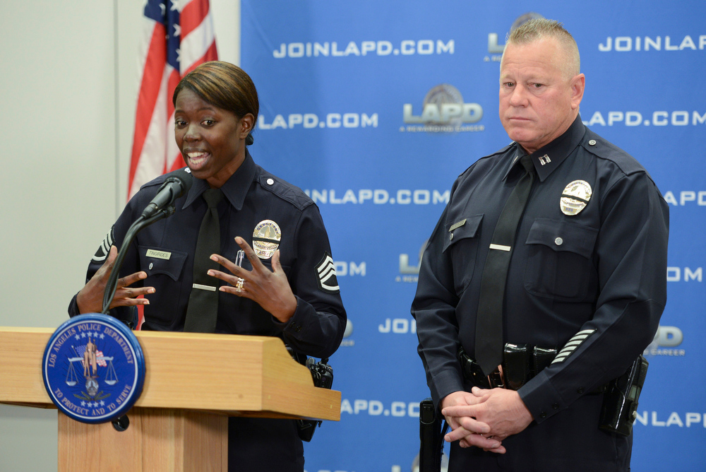 . LAPD Sergeant Emada Tingirides and her husband, LAPD Captain Phil Tingirides talk about their ordeal as they were targeted by Dorner.  Photo by David Crane/Staff Photographer