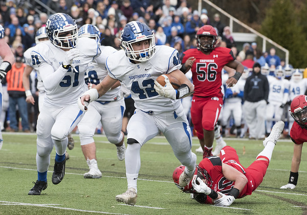 Southington football vs Cheshire in the Apple Valley Classic on Thanksgiving morning at Cheshire High School. Dillon Kohl (42) on a touchdown run. Wesley Bunnell | Staff