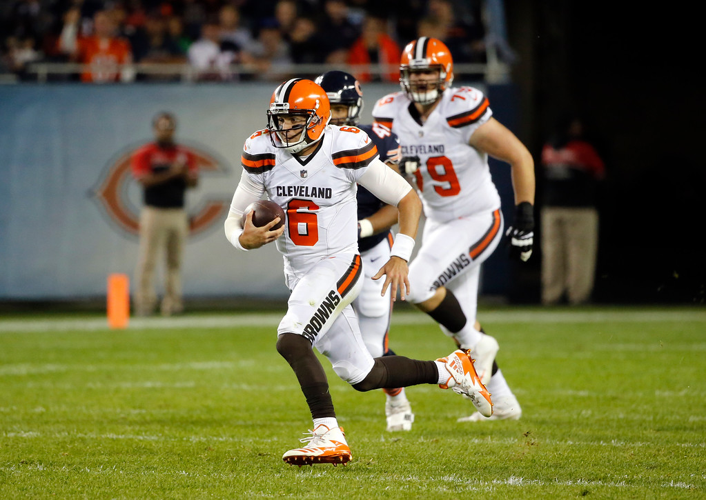 . Cleveland Browns quarterback Cody Kessler (6) runs during the first half of an NFL preseason football game against the Chicago Bears, Thursday, Aug. 31, 2017, in Chicago. (AP Photo/Charles Rex Arbogast)