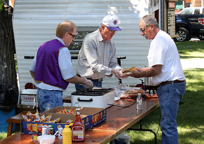 Lions Brian and Leo Orme were in charge of the serving table on Saturday morning.  Here they are at work.