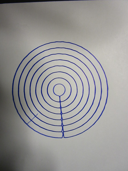 Step circle plot covering an area.  Working with 40mm radius in 5mm steps down to a 5mm radius and back out again.