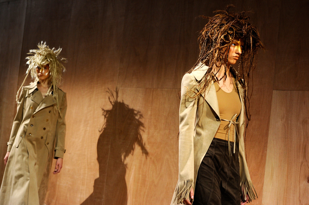 . Models present creations as part of Junya Watanabe\'s ready-to-wear Spring/Summer 2014 fashion collection, presented Saturday, Sept. 28, 2013 in Paris. (AP Photo/Zacharie Scheurer)