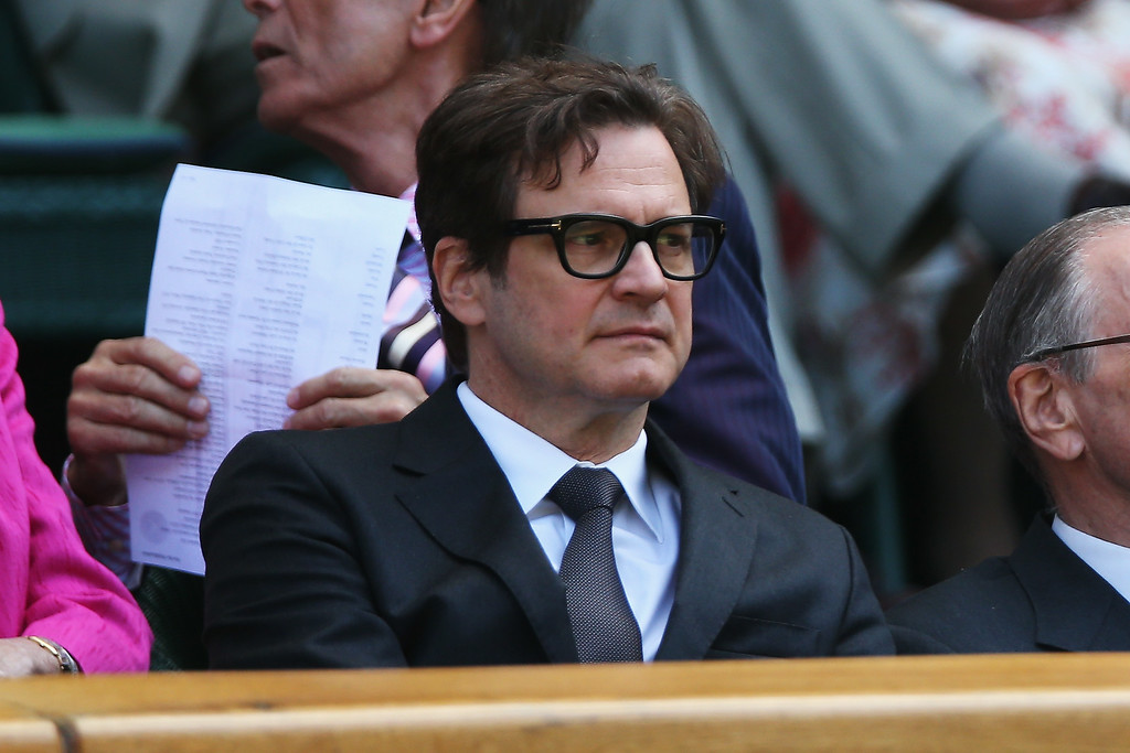 . Colin Firth in the royal box to watch the Eugenie Bouchard of Canada against Simona Halep of Romania Ladies\' Singles semi-final match on day ten of the Wimbledon Lawn Tennis Championships at the All England Lawn Tennis and Croquet Club  on July 3, 2014 in London, England.  (Photo by Matthew Stockman/Getty Images)