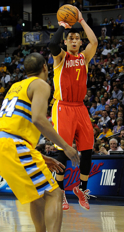 . DENVER, CO. - APRIL 6: Jeremy Lin (7) of the Houston Rockets drained a three point shot in the first half. The Denver Nuggets hosted the Houston Rockets at the Pepsi Center Saturday night, April 6, 2013. Photo By Karl Gehring/The Denver Post)