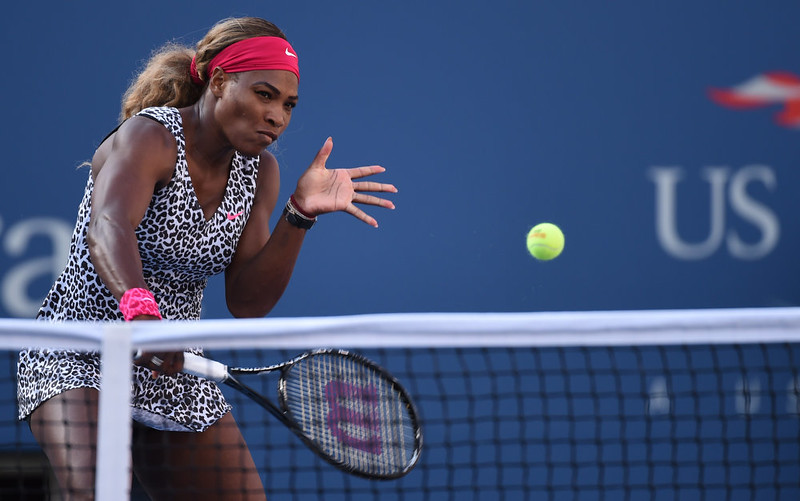 . Serena Williams of the US hits a return to Caroline Wozniacki of Denmark during their US Open 2014 women\'s singles finals match at the USTA Billie Jean King National Center September 7, 2014  in New York. STAN HONDA/AFP/Getty Images