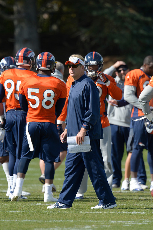 . Denver Broncos defensive coordinator Jack Del Rio  looks on during practice October 16, 2013 at Dove Valley. (Photo by John Leyba/The Denver Post)