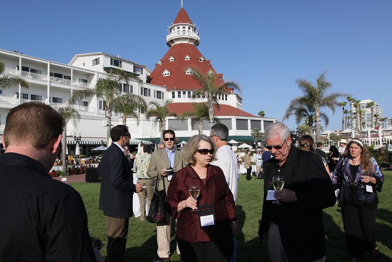 (Foreground) Terri LeFaivre and Rick LeFaivre, Venture Partner, OVP Venture Partners; in the background, the iconic turret of the Hotel del Coronado's Grand Ballroom