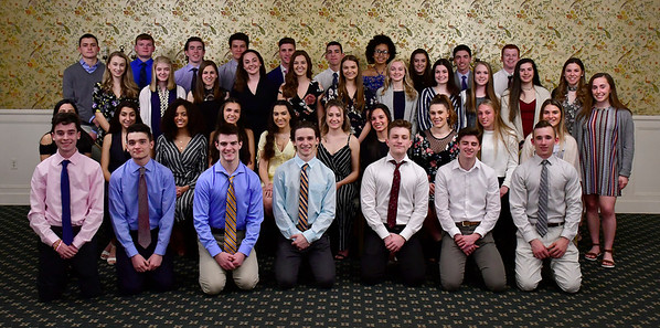3/28/2019 Mike Orazzi | Staff St. Paul Catholic High School students honored as scholar athletes by the Bristol Sports Hall of Fame at Nuchie's on Thursday night.