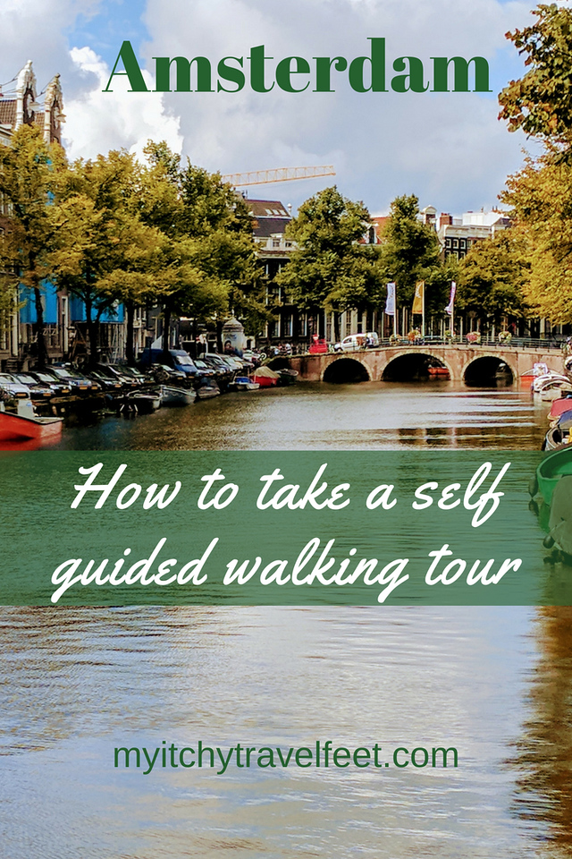 Text on photo: Amsterdam. How to take a self guided walking tour. Photo: Canal in Amsterdam