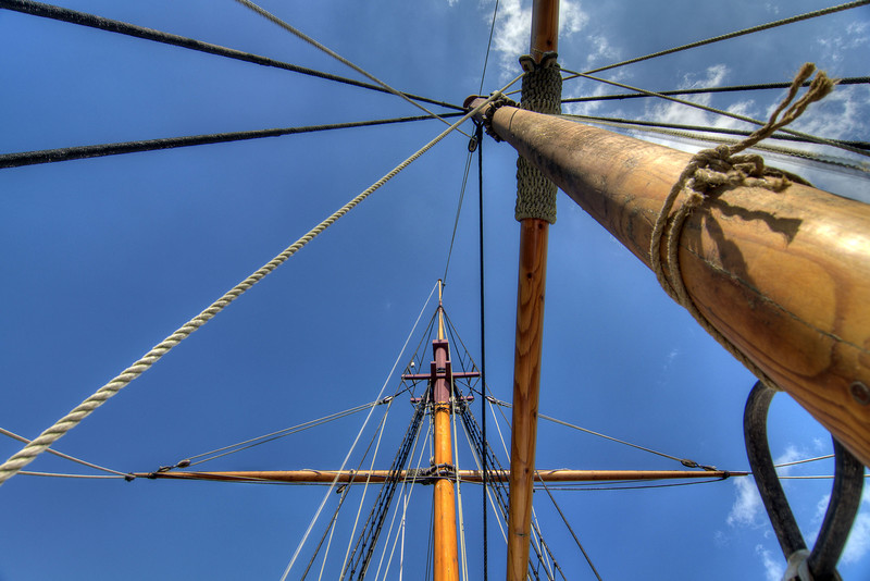 The main masts of The Adventure, a fully-functional replica of a 17th-century trading vessel, at Charles Towne Landing State Historic Park in Charleston, SC on Saturday, September 7, 2013. Copyright 2013 Jason Barnette