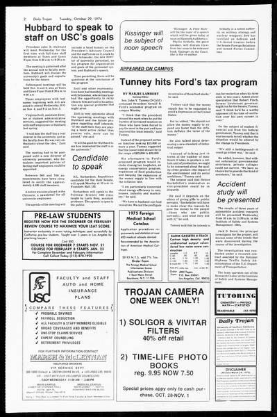 Daily Trojan, Vol. 67, No. 31, October 29, 1974