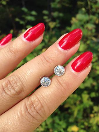 "1.98ctw Old European Cut Diamond ""Sarah"" Milgrained Bezel Earrings"