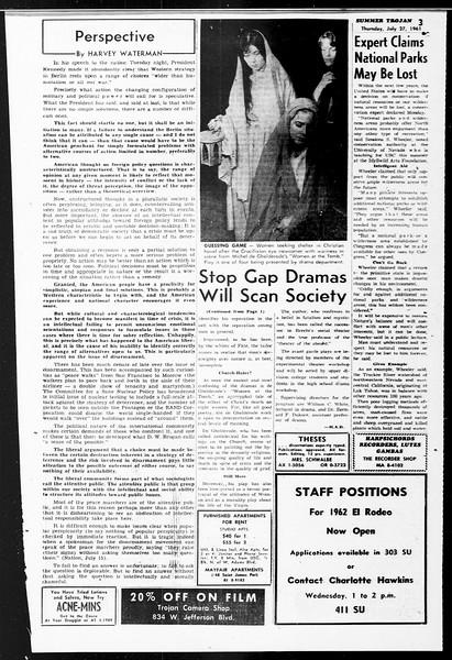 Summer Trojan, Vol. 11, No. 11, July 27, 1961