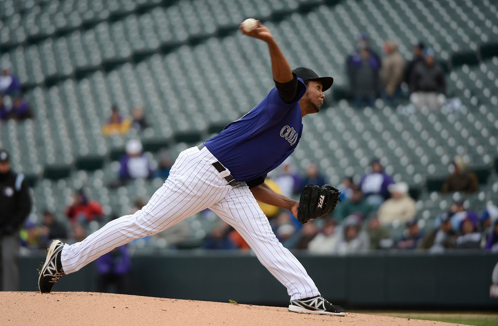 . Juan Nicasio of Colorado Rockies delivers a pitch against the New York Mets in the first inning April 16, 2013 at Coors Field. Both teams wore the number 42 on their jersey in honor of Jackie Robinson. (Photo By John Leyba/The Denver Post)
