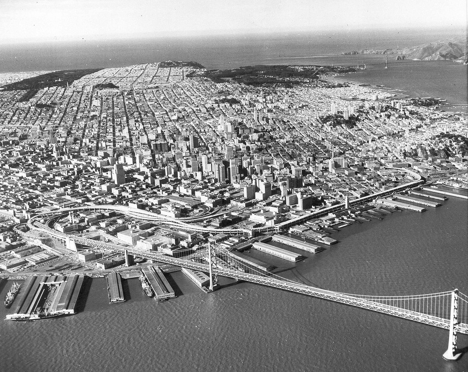 . Aerial view of the city of San Francisco, Calif., Jan. 20, 1959. (AP Photo)