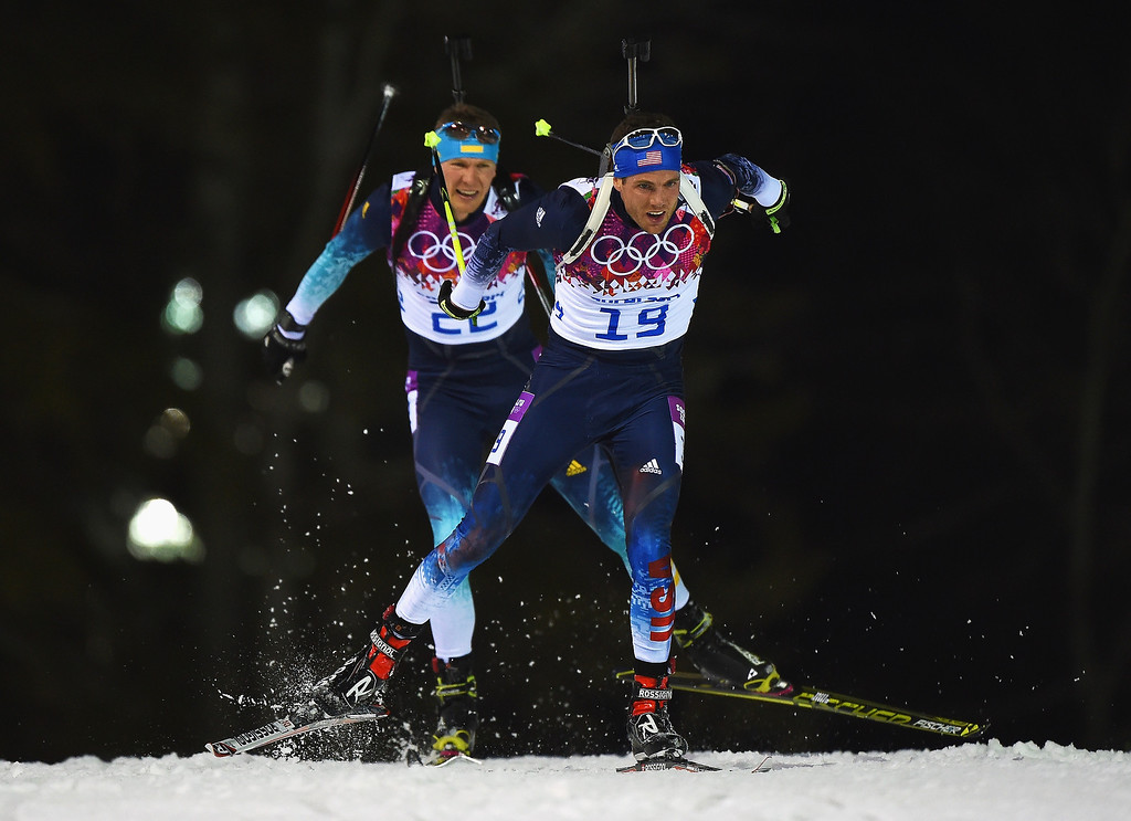 . Tim Burke of the United States competes in the Men\'s 12.5 km Pursuit during day three of the Sochi 2014 Winter Olympics at Laura Cross-country Ski & Biathlon Center on February 10, 2014 in Sochi, Russia.  (Photo by Lars Baron/Getty Images)