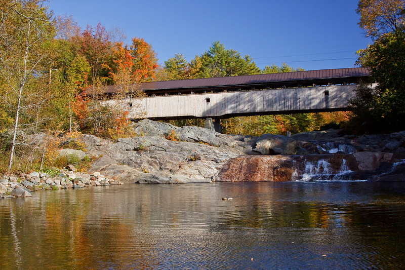 The Swiftwater Covered Bridge, located in Bath, spans the Ammonoosuc River. This bridge was built in 1849 and is 158' long.