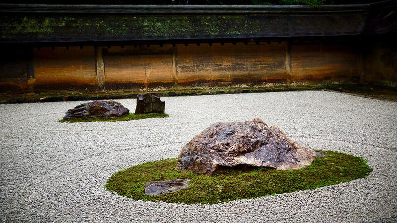 The kare-sansui (dry landscape) garden at Ryoanji Temple, Kyoto