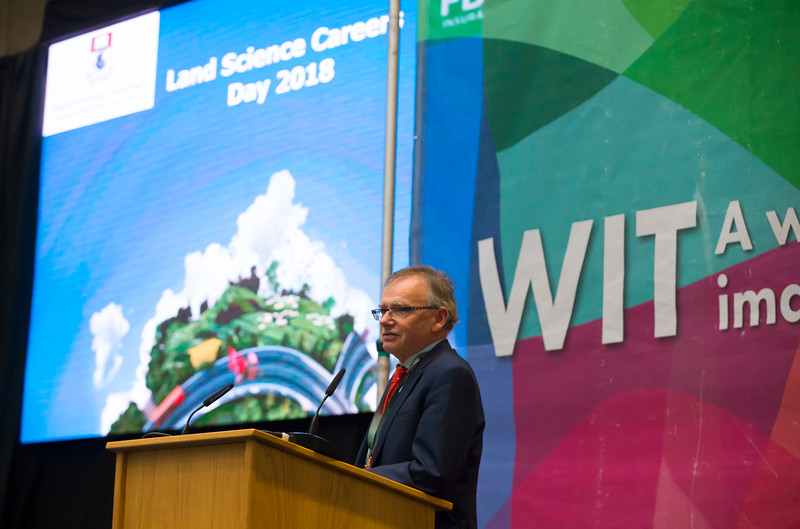 09/03/2018.  Land Sciences Careers Day. Waterford Institute of Technology and Teagasc marked 40 years of partnership at a Land Sciences Careers event for WIT students at the WIT Arena. The programmes the two collaborate on span right across the board from agrifood, to forestry, and horticulture.  Pictured is the President of WIT Prof. Willie Donnelly. Picture: Patrick Browne