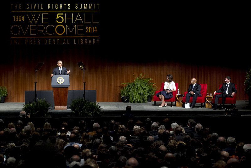 . U.S. President Barack Obama gives the keynote speech on the third day of the Civil Rights Summit at the LBJ Presidential Library April 10, 2014 in Austin, Texas. The summit marks the 50th anniversary of the passing of the Civil Rights Act legislation. (Photo by Laura Skelding-Pool/Getty Images)