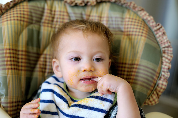 12/12/11 Micah enjoying his Mac and Cheese