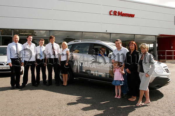 CR Morrow Bessbrook launch the New ANTARA Explore, Included are sales manager Ian Matchett with staff and Sandra Magee behind the wheel as she takes the new car for a test drive, 07W31N64