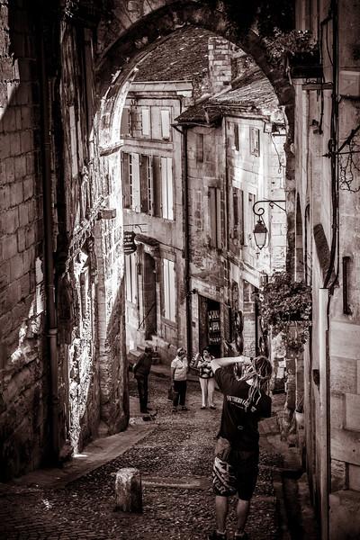 Street life scene at Saint-Emilion.