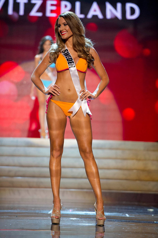 . Miss Sweden Hanni Beronius competes in her Kooey Australia swimwear and Chinese Laundry shoes during the Swimsuit Competition of the 2012 Miss Universe Presentation Show at PH Live in Las Vegas, Nevada December 13, 2012. The 89 Miss Universe Contestants will compete for the Diamond Nexus Crown on December 19, 2012. REUTERS/Darren Decker/Miss Universe Organization/Handout