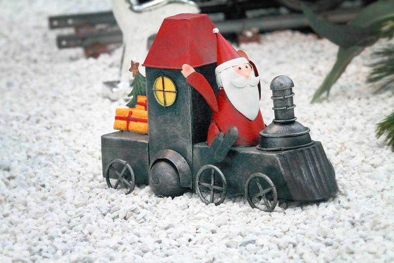 A toy from the mid-19th century.  The Weihnachtsmann bringing toys on a steam train, as an Advent Market in Vienna.