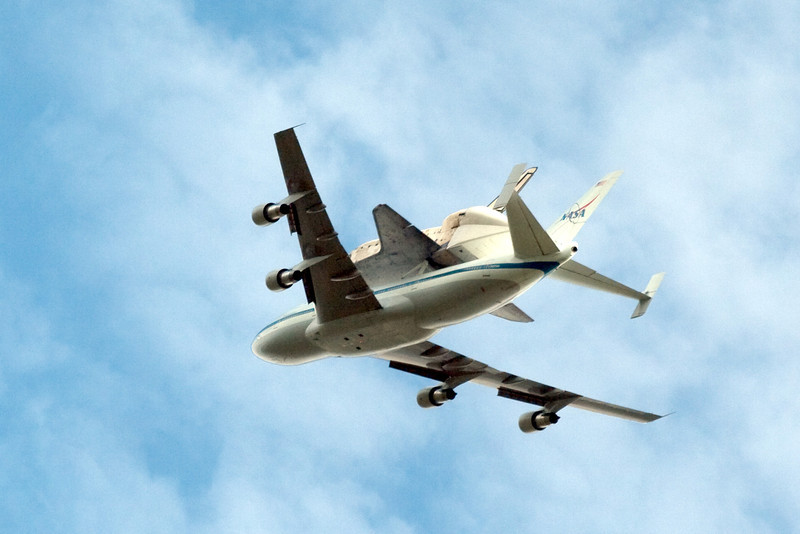On April 17, 2012, the Space Shuttle Discovery was flown to Air & Space Museum's Udvar-Hazy Center in Virginia aboard the NASA 747 Shuttle Carrier Aircraft (SCA).  The SCA flew over NASA/Goddard, and *directly* over Building 34, where a crowd of us were on the roof.