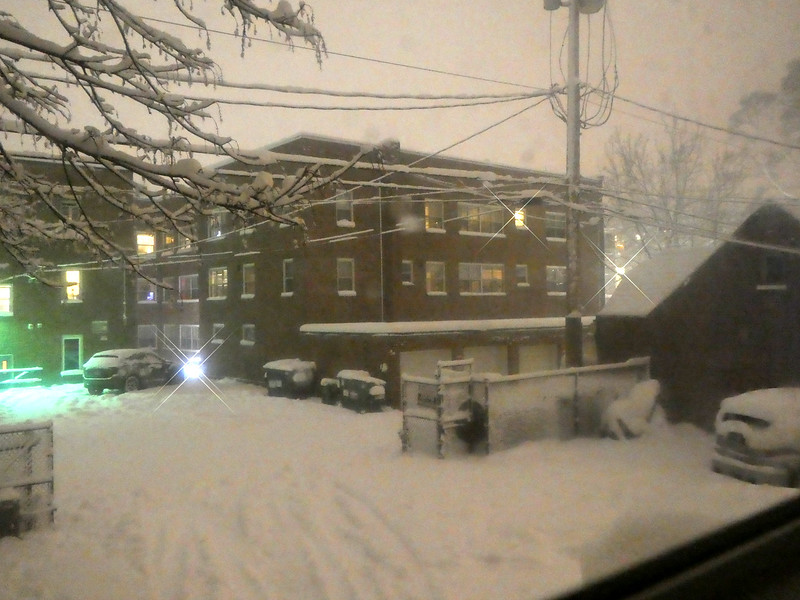 Snow on Sunday night - seen from my AirBnB room