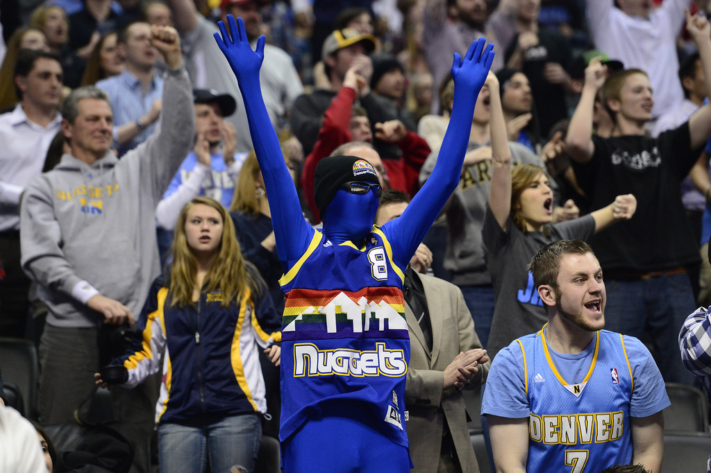 . DENVER, CO - FEBRUARY 5: Denver Nuggets fans cheer their team on against the Milwaukee Bucks during the second half of action. The Denver Nuggets defeat the Milwaukee Bucks 112-104 in NBA action at the Pepsi Center. (Photo By AAron Ontiveroz/The Denver Post)