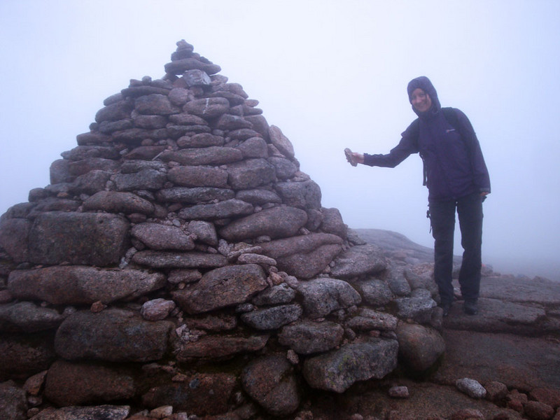 Finally, after blundering around in the fog, we found the summit of Mt Cairngorm at 1,244 m. We initially missed it by about 30 m. The view was not the best, and it was bloody cold! About 3 C max, and we'd forgotten our gloves/warm gear in the rush to leave the London heat wave.