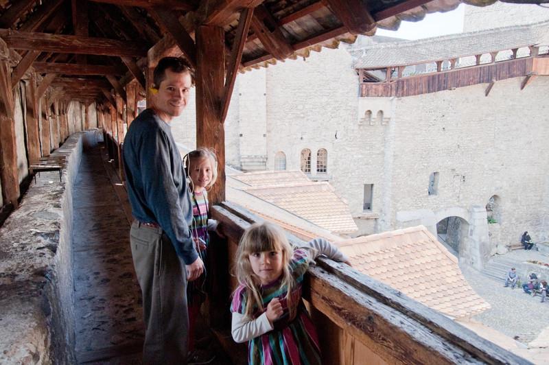 On the sentry's walk in Chillon Castle.
