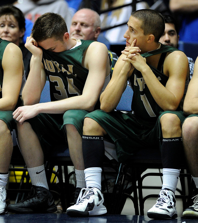 . Royal players hang their heads on the bench during their CIF-SS Division III-AAA Boys Basketball Championship against Tustin at the Anaheim Convention Center Thursday, February 28, 2013. Tustin beat Royal  (Hans Gutknecht/Staff Photograpehr)