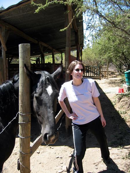 Lisa and horse at house