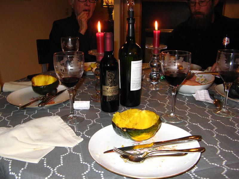 Acorn squash and wine, a balanced meal...