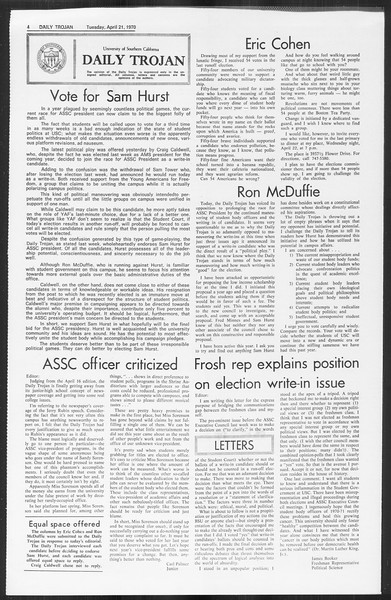 Daily Trojan, Vol. 61, No. 109, April 21, 1970