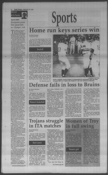 Daily Trojan, Vol. 133, No. 29, February 23, 1998