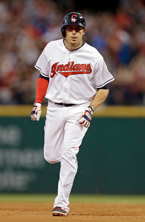 . Cleveland Indians\' Asdrubal Cabrera rounds the bases after a two-run home run off Colorado Rockies starting pitcher Juan Nicasio in the fifth inning of a baseball game Friday, May 30, 2014, in Cleveland. (AP Photo/Mark Duncan)