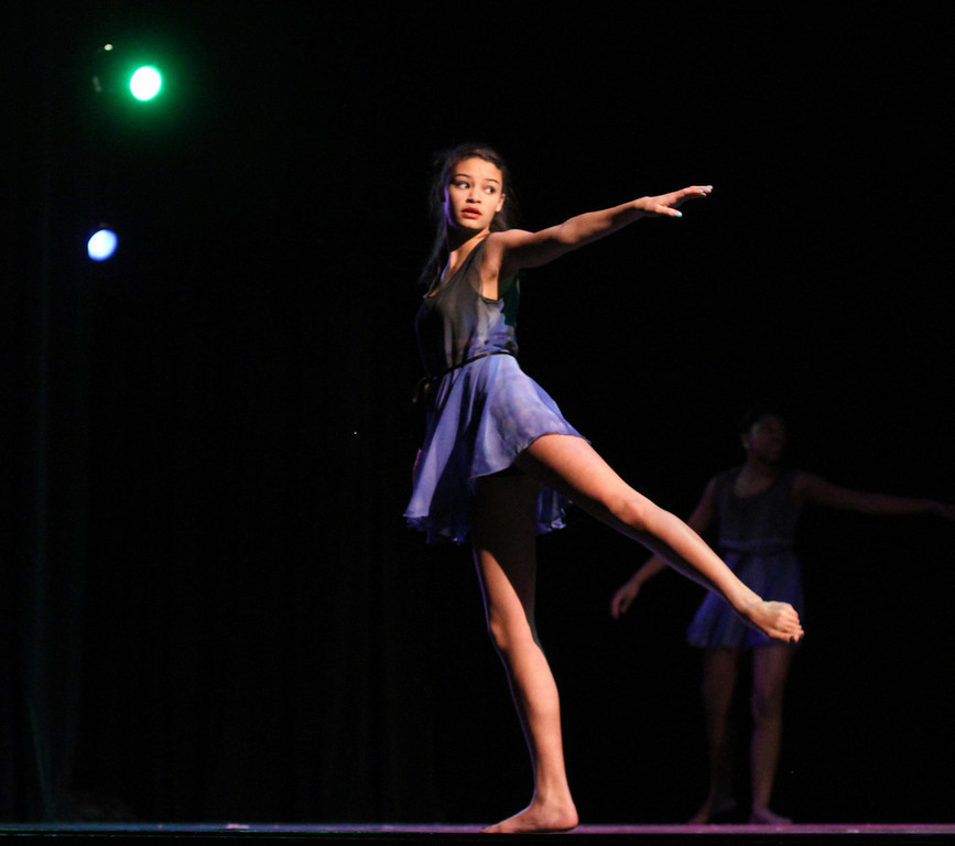 """. Advanced dance student Christina Shelton dances \""""I Will Fix You\""""  during Skyline\'s annual Black History Assembly at Skyline High School in Oakland, Calif. on Monday, Feb. 4, 2013.  (Laura A. Oda/Staff)"""