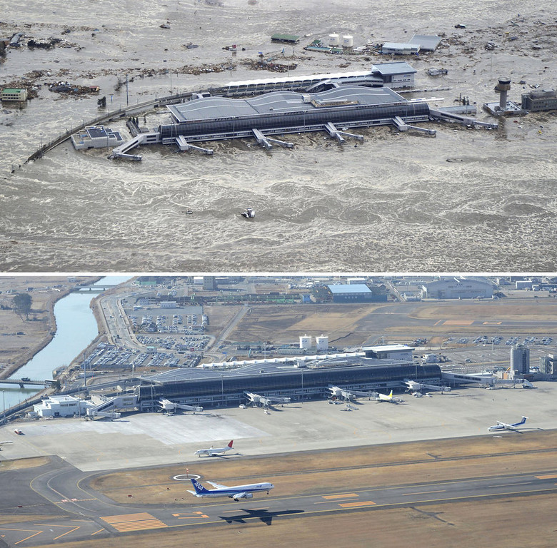 . This combination photo taken March 11, 2011, top, and Monday, March 4, 2013 shows an aerial view of Sendai Airport in Natori, Miyagi prefecture. The airport resumed operation only about one month after the tsunami and functioned as the major base of the rescue operation. March 11, 2013 is the 2-year anniversary of the earthquake and tsunami which devastated the northeastern Pacific coast of Japan. (AP Photo/Kyodo News)