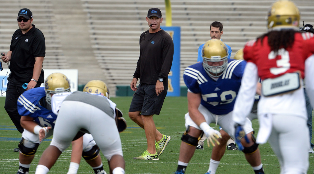 . UCLA Bruins head coach Jim Mora during a NCAA college spring football game at the Rose Bowl in Pasadena, Calif., Saturday, April 25, 2015.