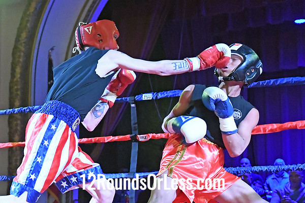 Bout 1 Garret Davidson, Red Gloves, Meese Martial Arts, New Philly -vs- Lah Htoo, Blue Gloves, Wrestling Factory, Lakewood HS, 125 Lbs, Sub-Novice