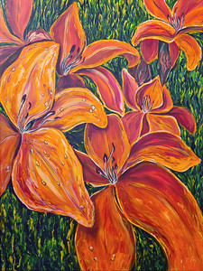 """""""Freshness of lilies"""" (oil and acrylic on canvas) by Liliia Buntseva"""