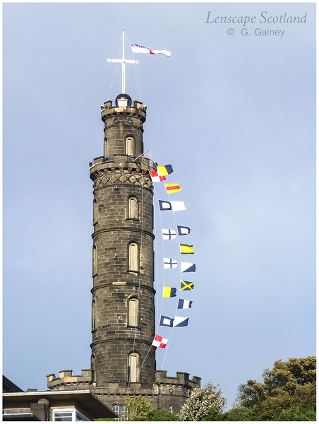 Nelson Monument, Calton Hill, with Trafalgar Day flags