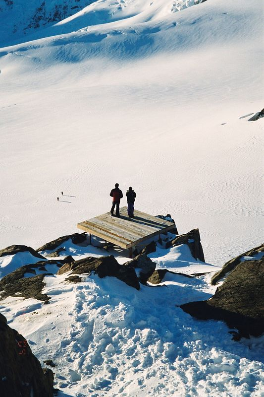 Views from the hele pad. Phil and Duncan are the small figures to the left on the upper Tasman. Feb 04