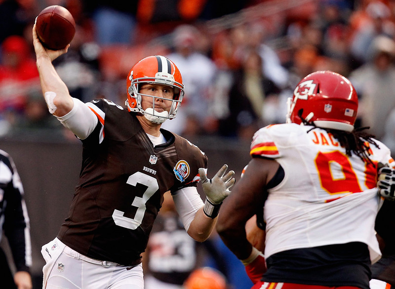 . Brandon Weeden, Oklahoma State Selected 22nd overall by the Browns in 2012 Like the three quarterbacks taken before him, Weeden started a majority of his team�s games his rookie season. The Browns quarterback, who will turn 30 during his second NFL season, passed for 3,385 yards, 14 touchdowns and 17 interceptions. GRADE: C-. His age suggests he�s a short-term stopgap at a position where Cleveland is in desperate need of a long-term answer. (Photo by Matt Sullivan/Getty Images)