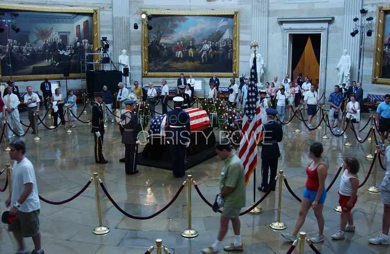The casket bearing former President Ronald Reagan lies in state at the U.S. Capitol.